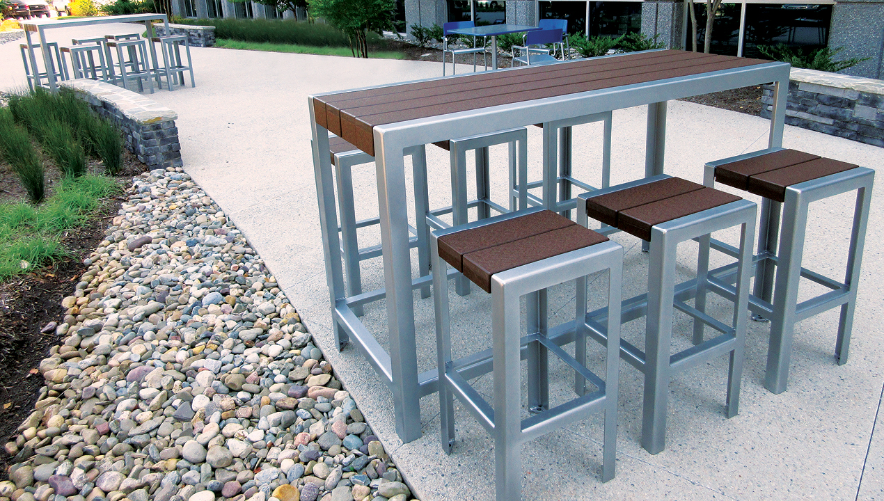 Bar height table with individual bar height stools