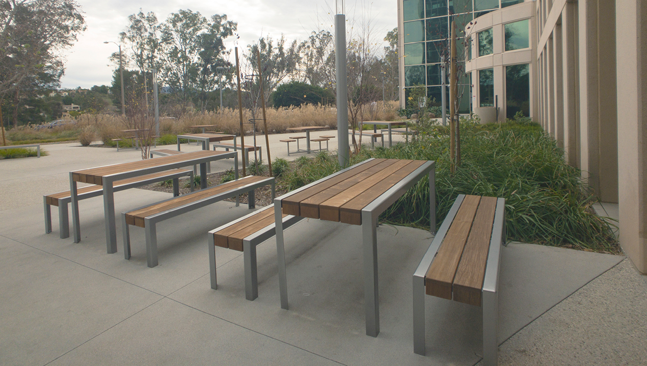 Tables and Benches on Concrete Area