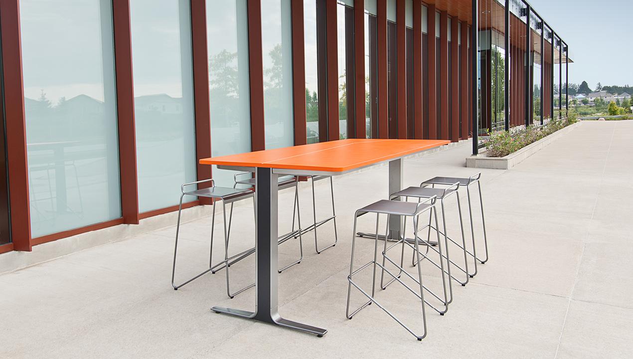 Orange Kontour Bar Height Table and Chairs