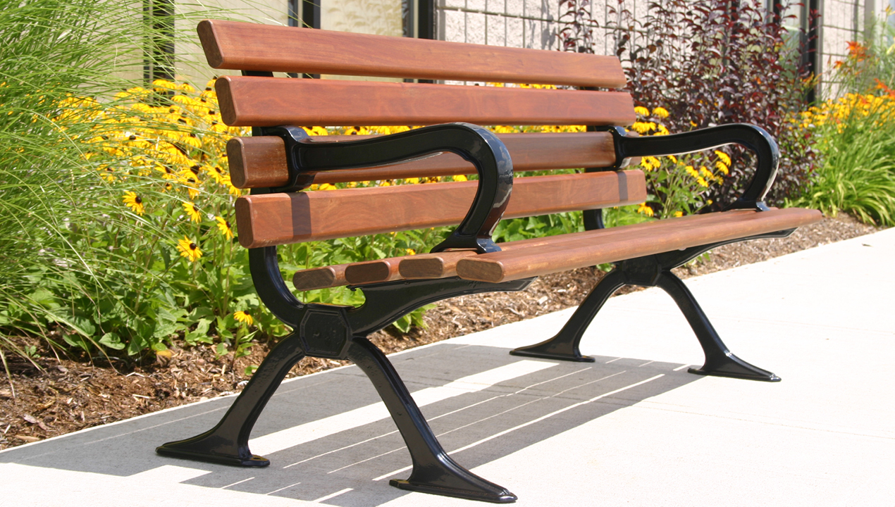 Wood Bench with Arms