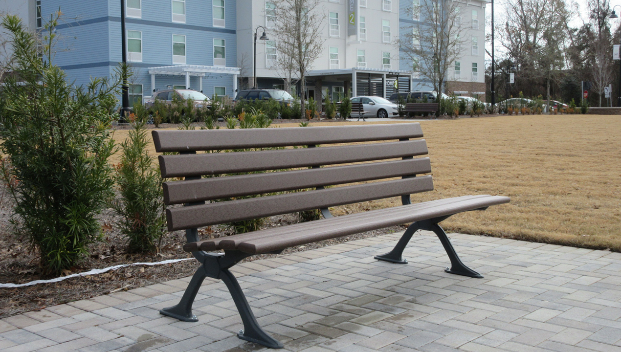 Backed Wood Bench Near Building