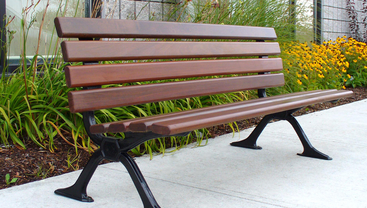 Backed Wood Bench Outside Building
