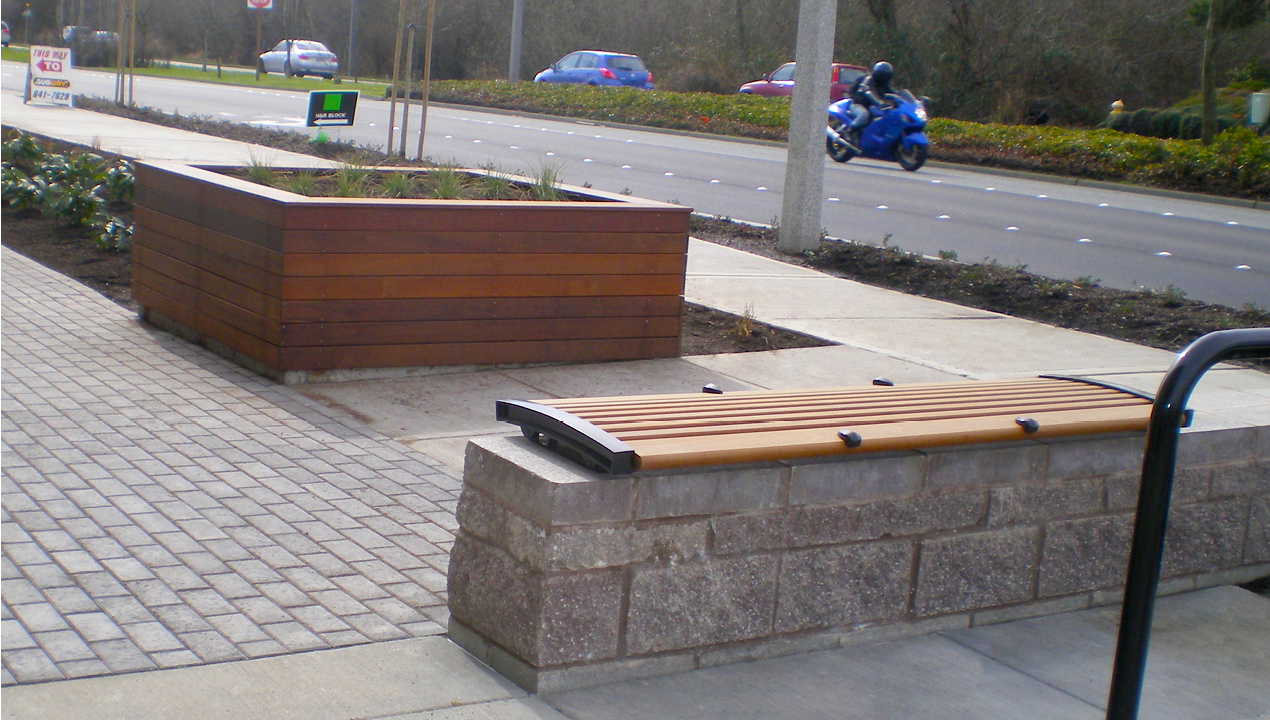 Backless Bench and Wood Planter