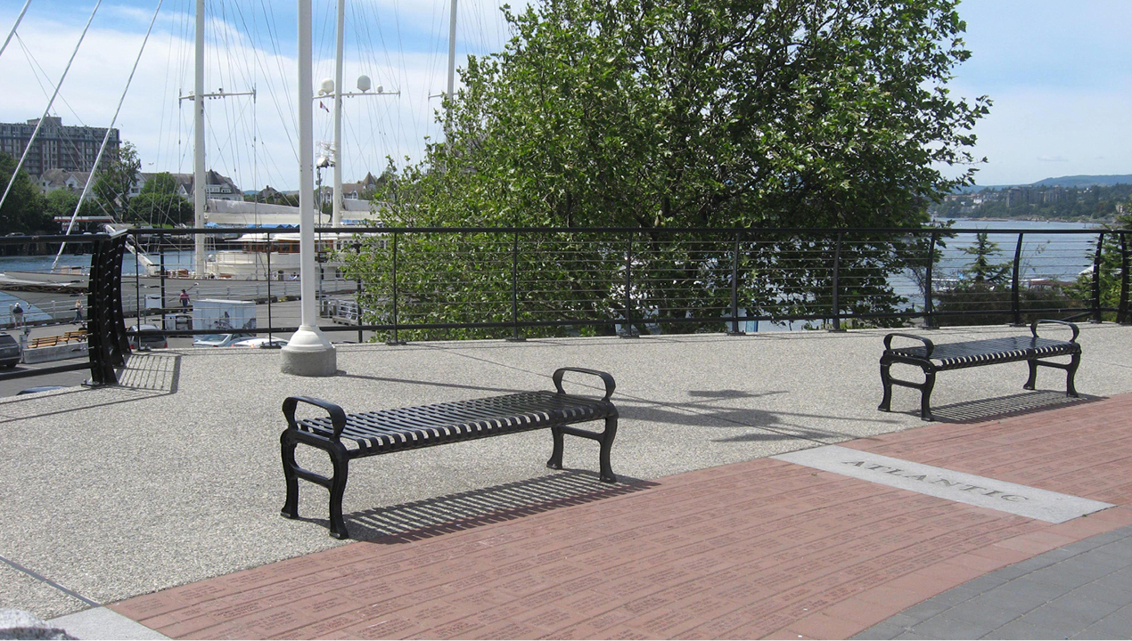 Backless Black Metal Benches with Arms on each end near Water