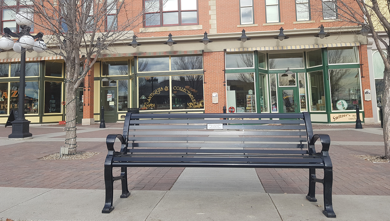 Black Metal Bench with Horizontal Slats Near Commercial Shops