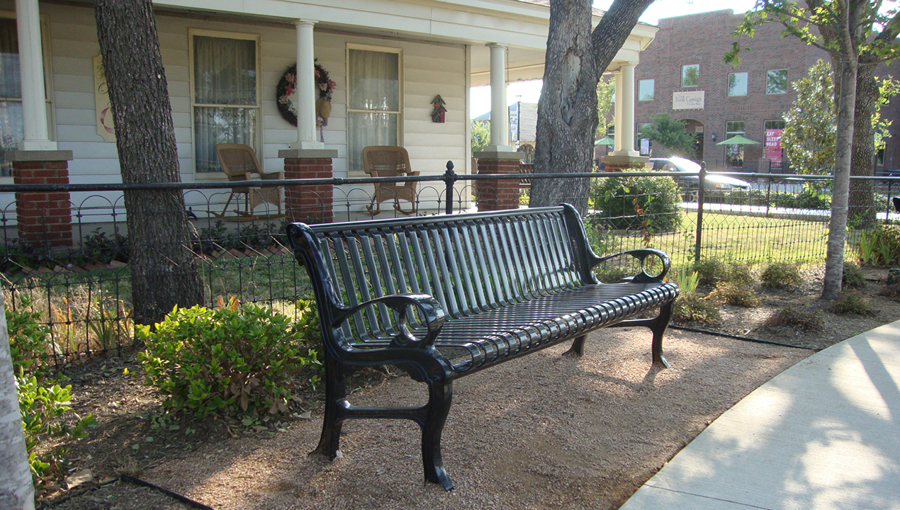 Black Metal Backed Bench with Vertical Slats