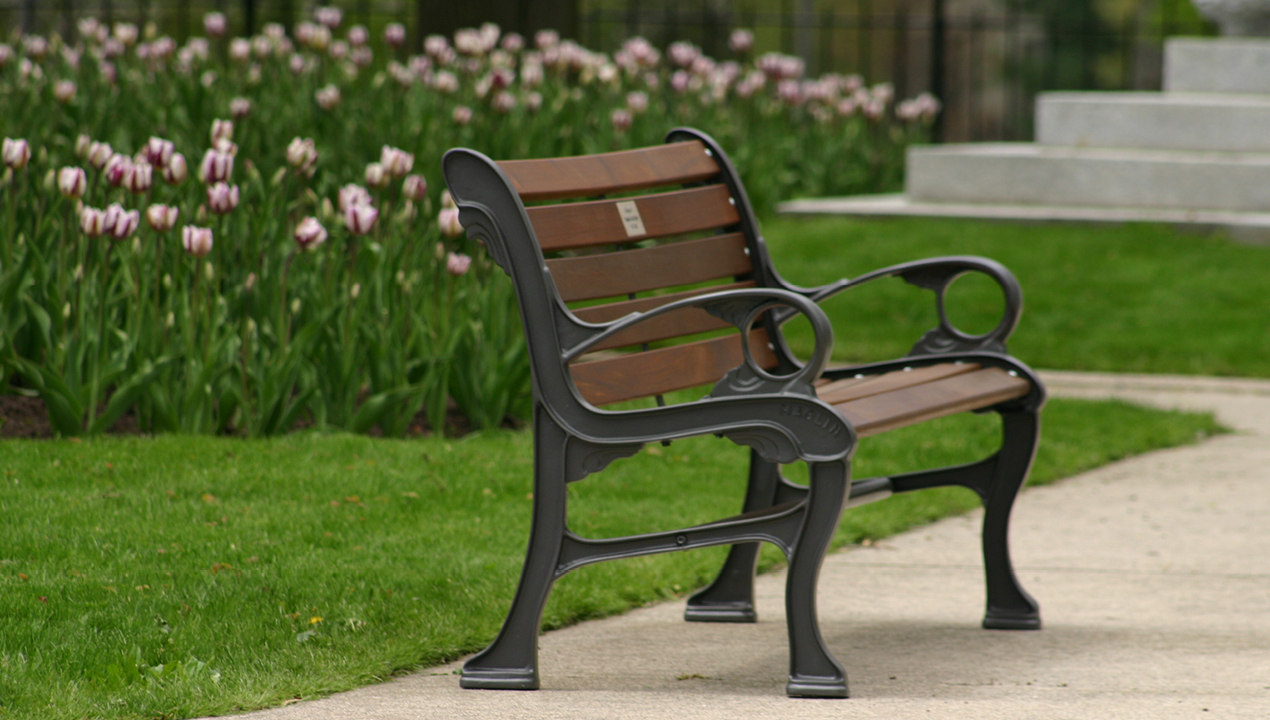 Backed Wood Bench with Metal Arms in Green Area