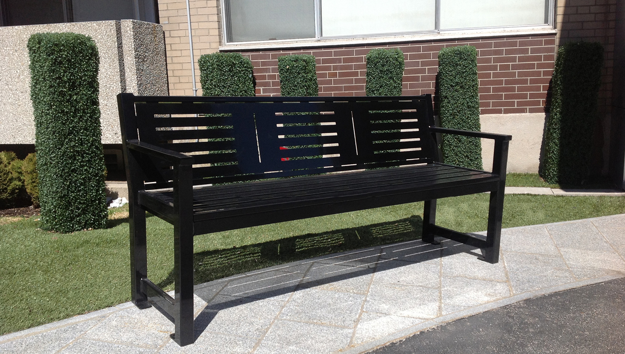 Metal Backed Bench with Arms