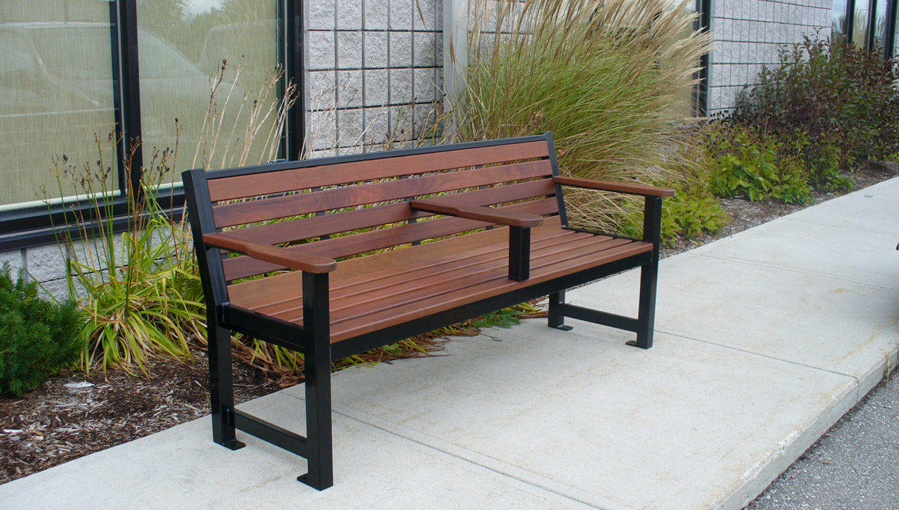 Backed Bench Near Building