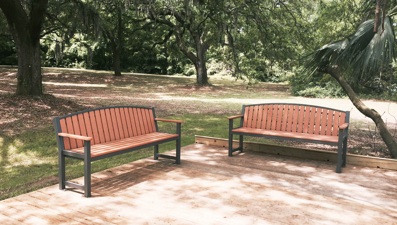 Backed Benches near a park