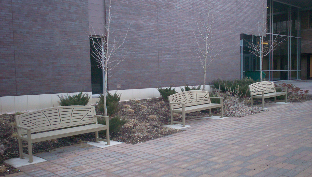 Metal Backed Benches near Building