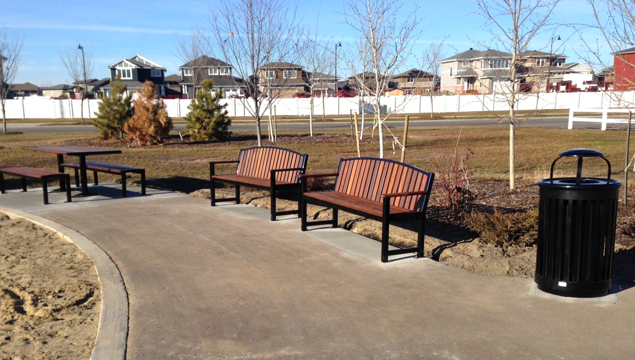 Backed Benches near residential area