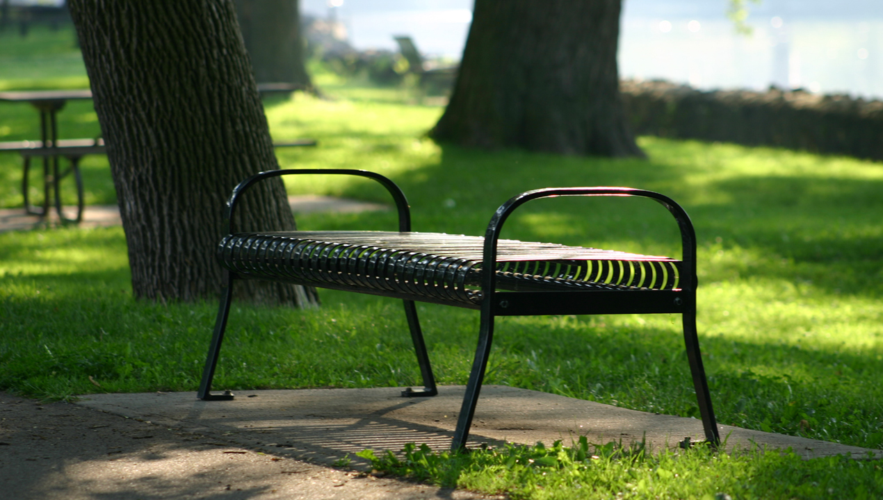 Backless Bench with Arms in Park