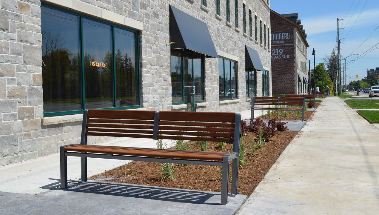 Backed Wood Benches Near Commercial Area