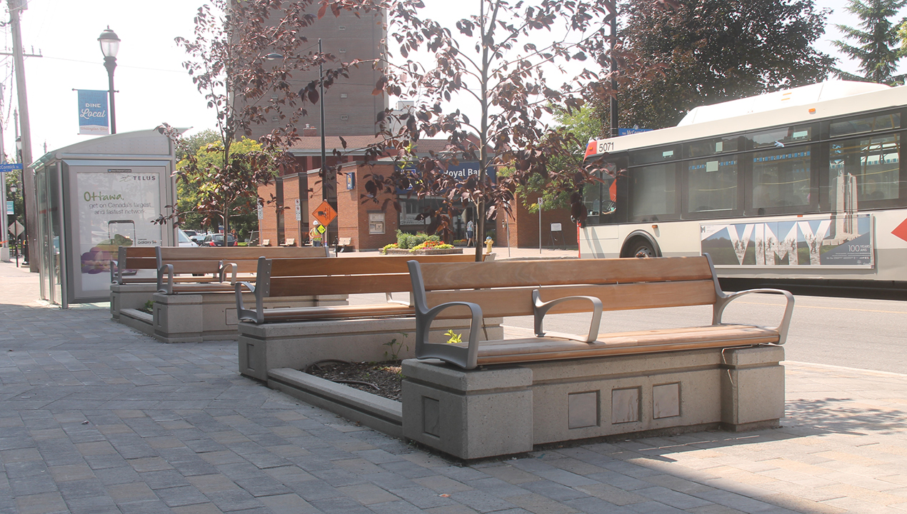 Mounted Benches Near Road