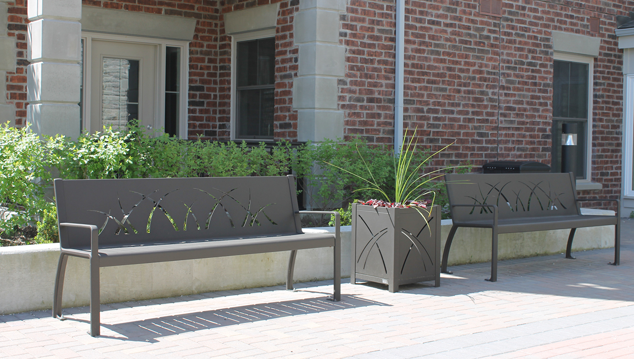 Metal Benches outside Building