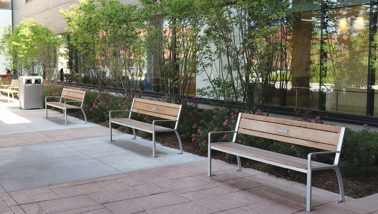 Backed Wood Benches Near Gardens