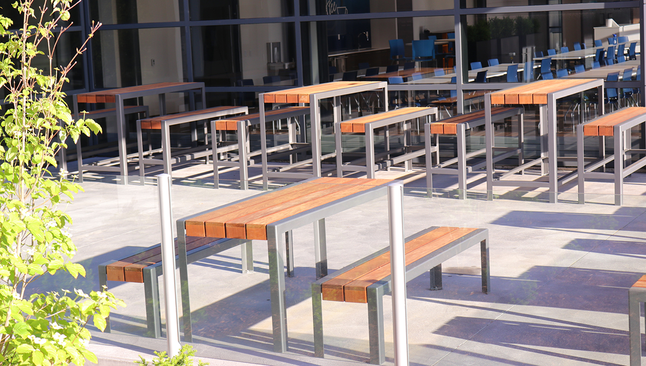 Tables with Benches on a Patio