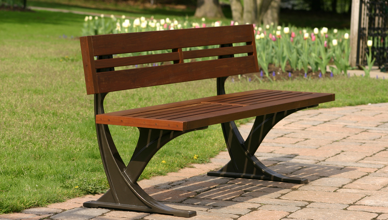 Wooden Backed Bench with no arms