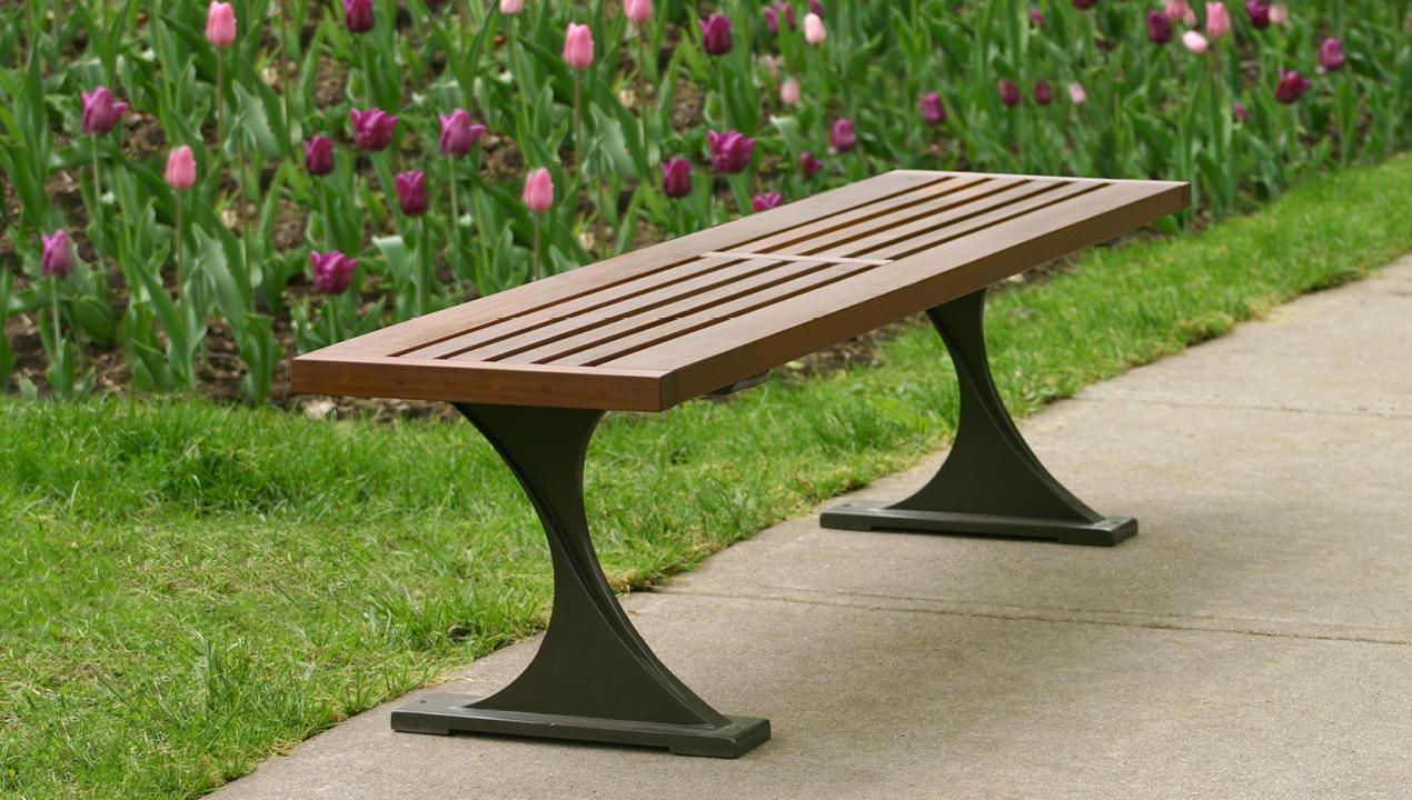 Backless Bench near Garden