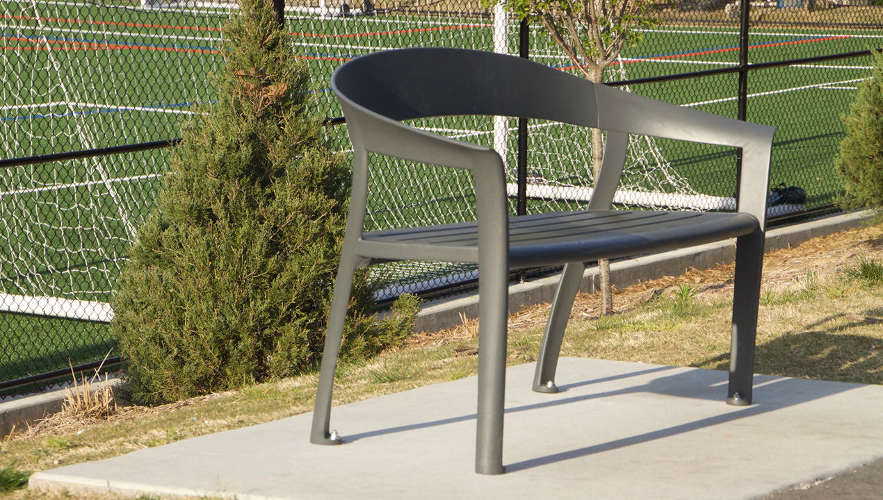 Backed Curved Bench in Grey
