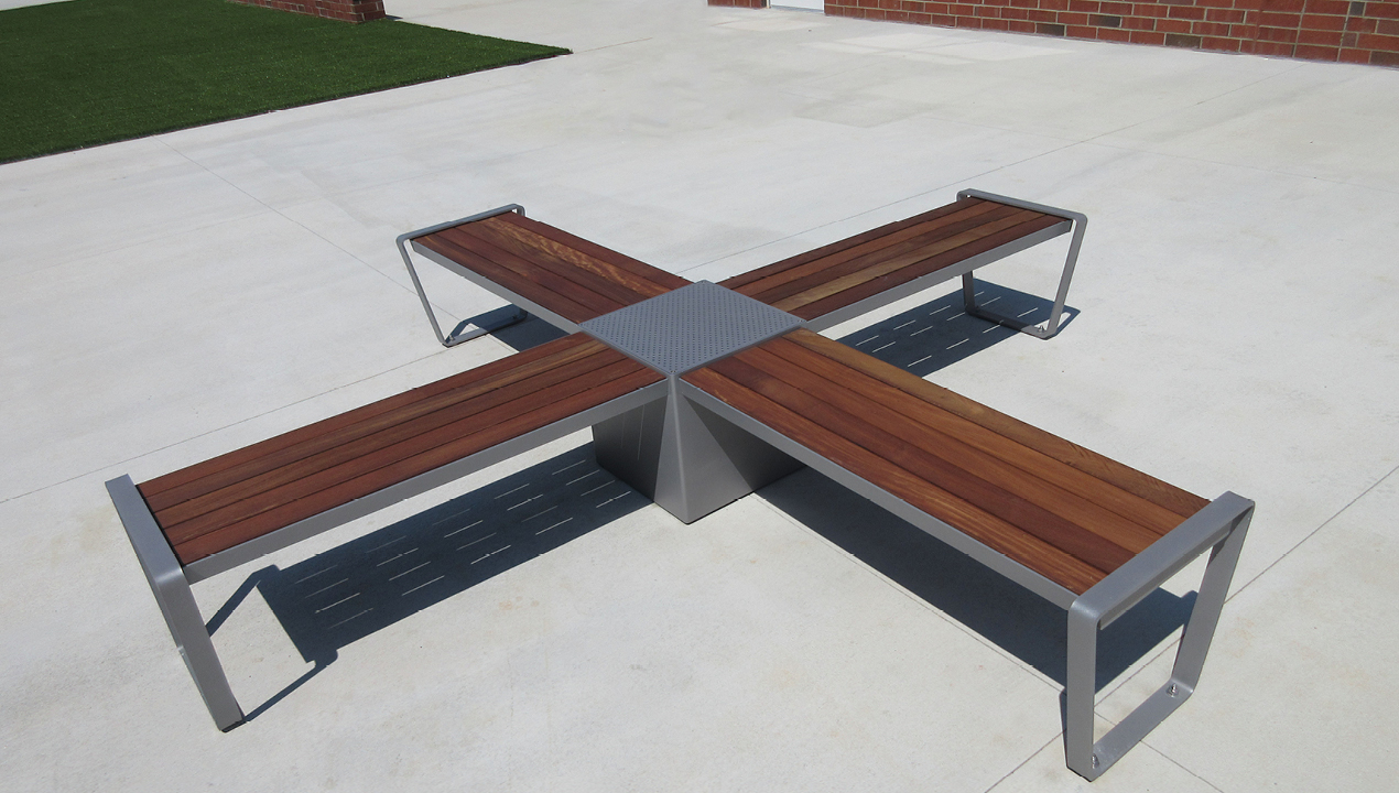 X shaped Lexicon benches with module in the center