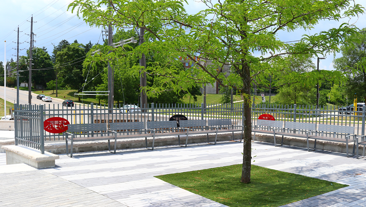 Grey Bench near Fence