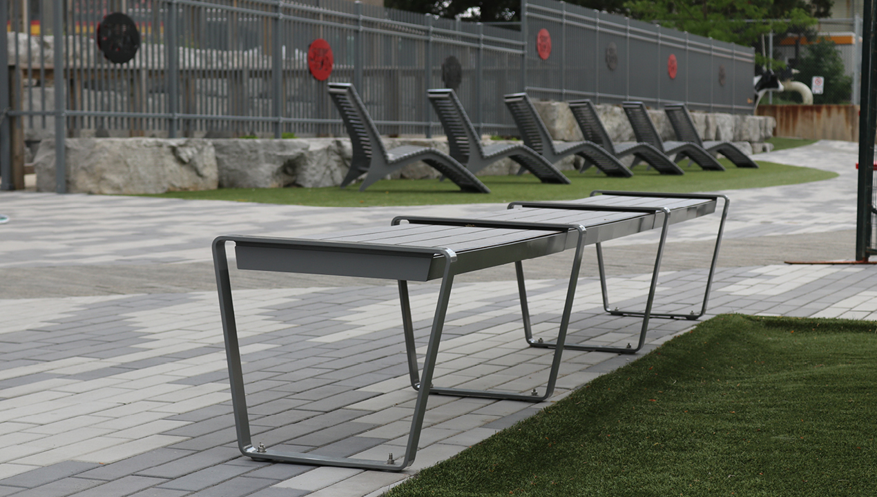Backless Bench in Grey
