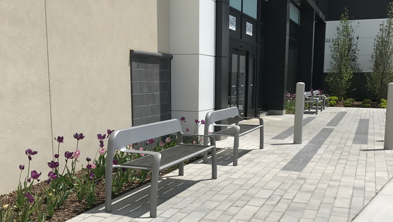 Backed Bench with Arms