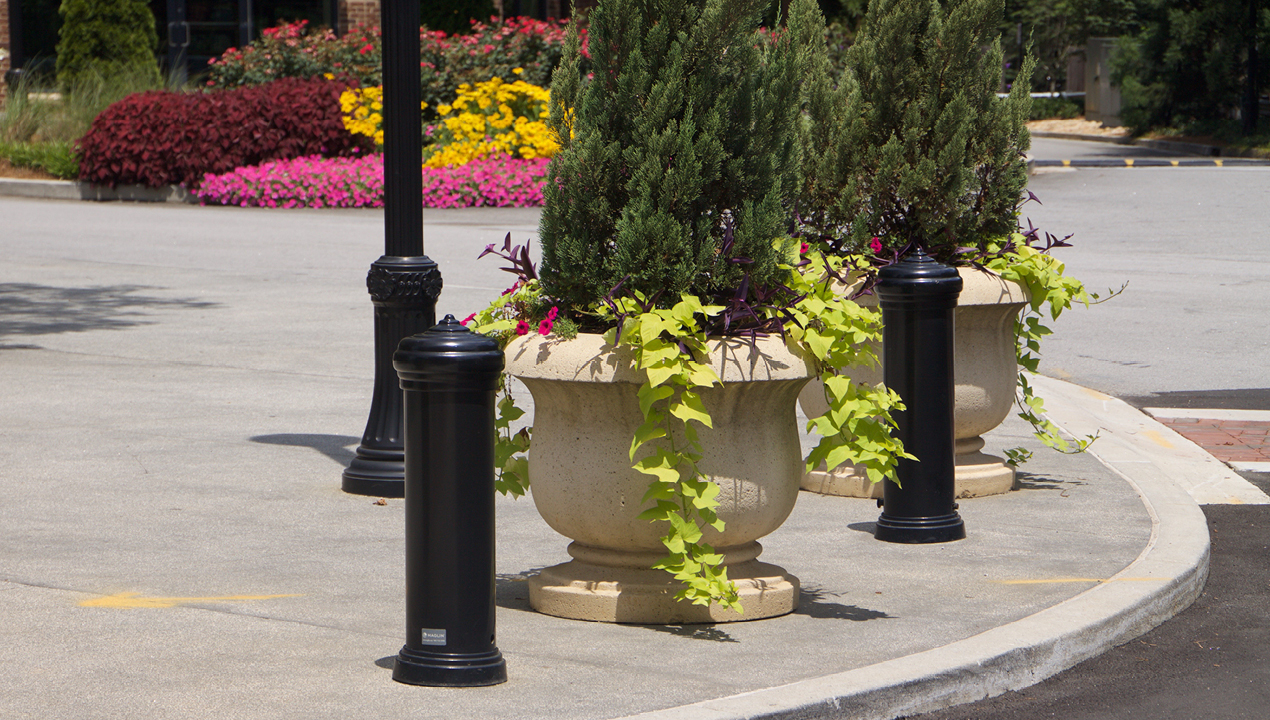 Bollards near planters