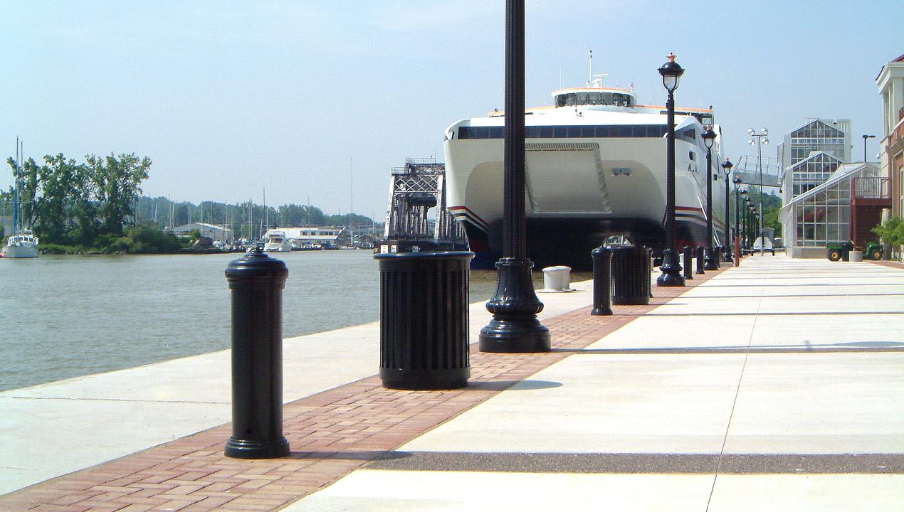 Bollards and Trashcans along water