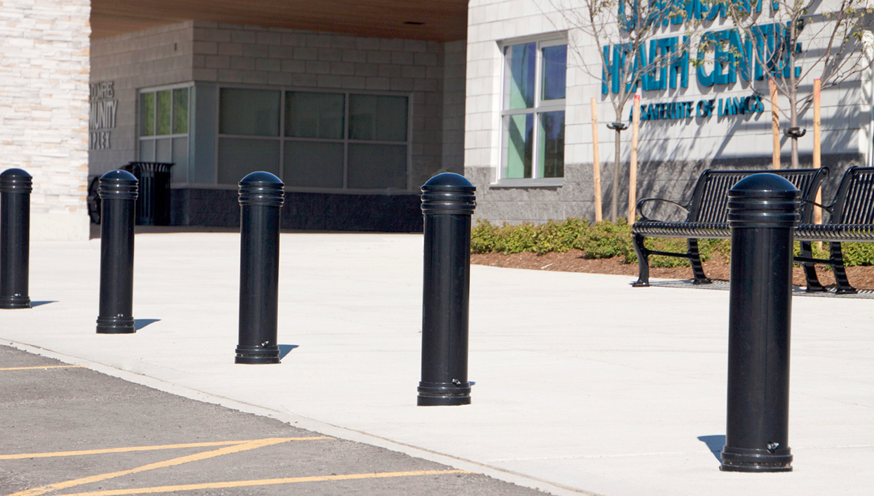 Bollards Outside Health Center