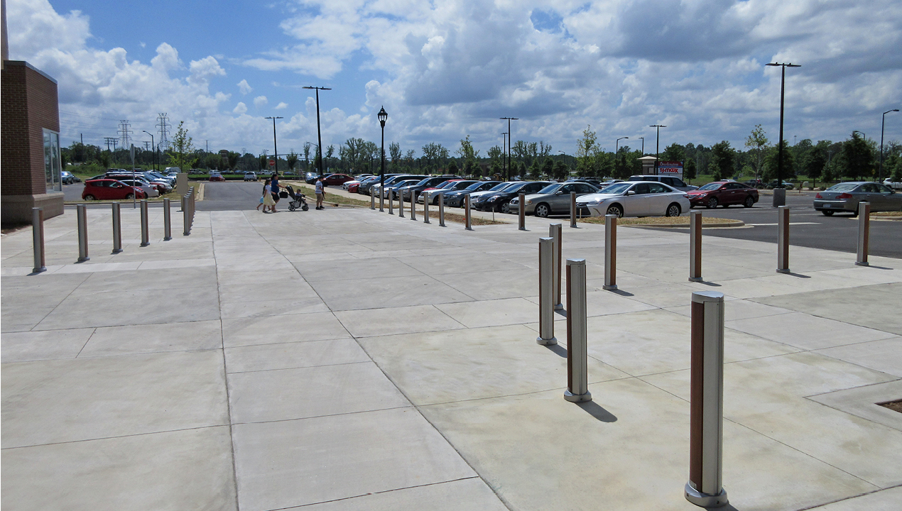 Bollards Near Parking Lot