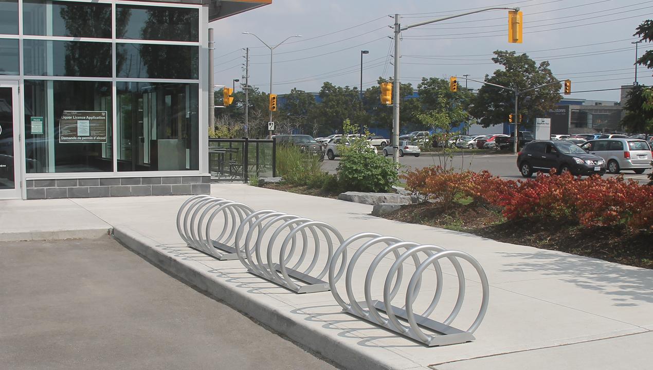Looped Bike Racks near commercial area