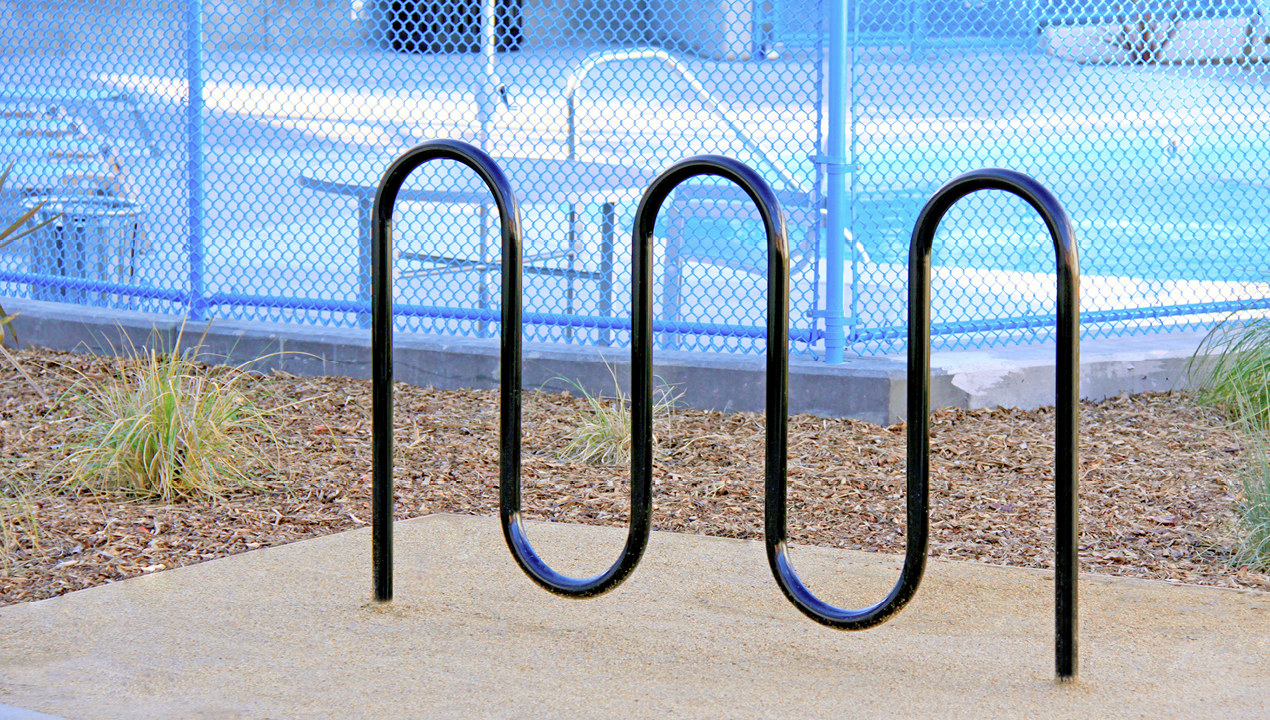 Bike Rack with direct burial outside of pool