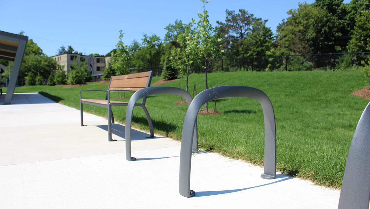 Children's bike rack near greenspace