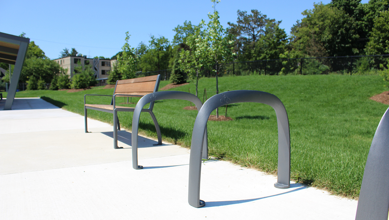 Children's bike rack near greenspace