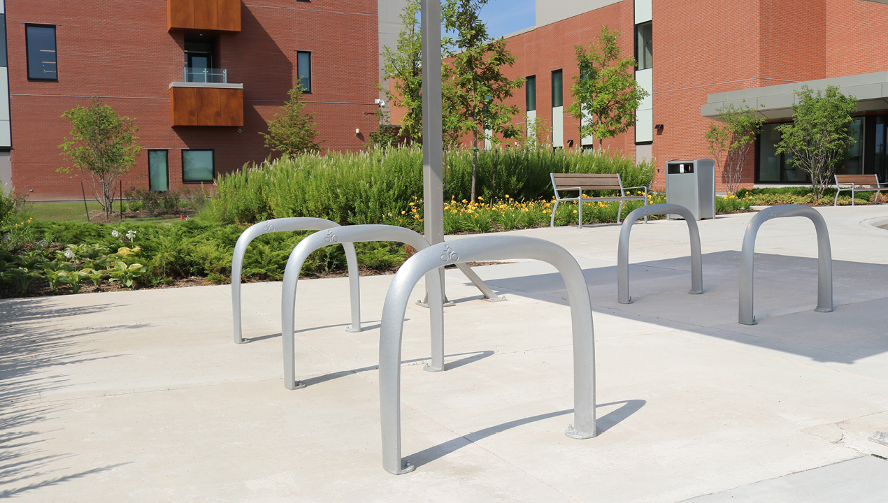 Children's Bike Rack outside of buildings