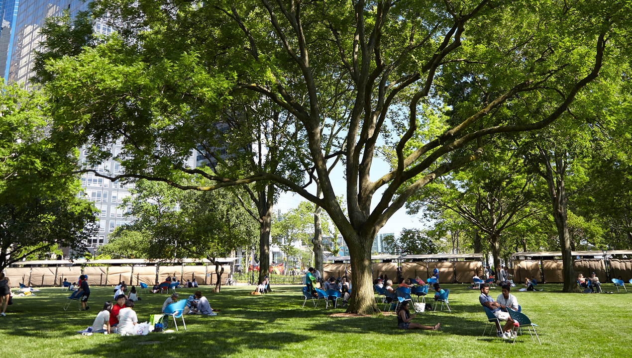 People sitting in blue chairs in Battery Park