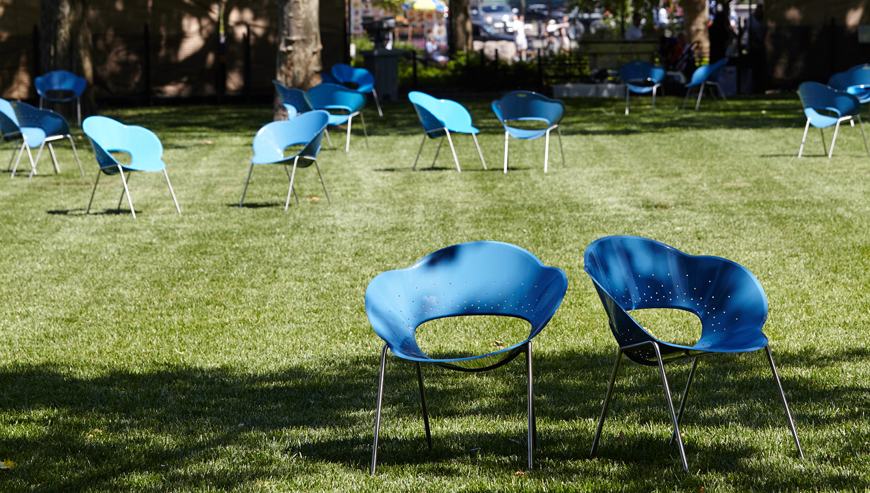 Blue Battery Chairs on grass