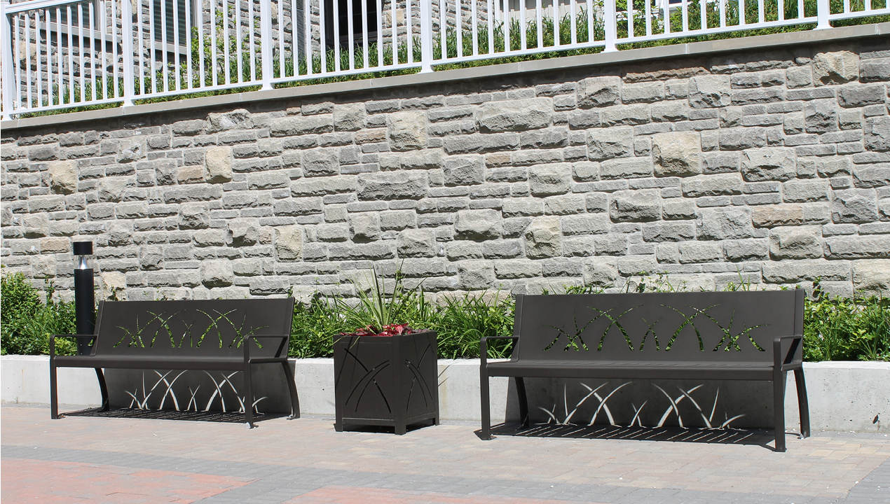 Two Black Metal Benches with Black Small Planter