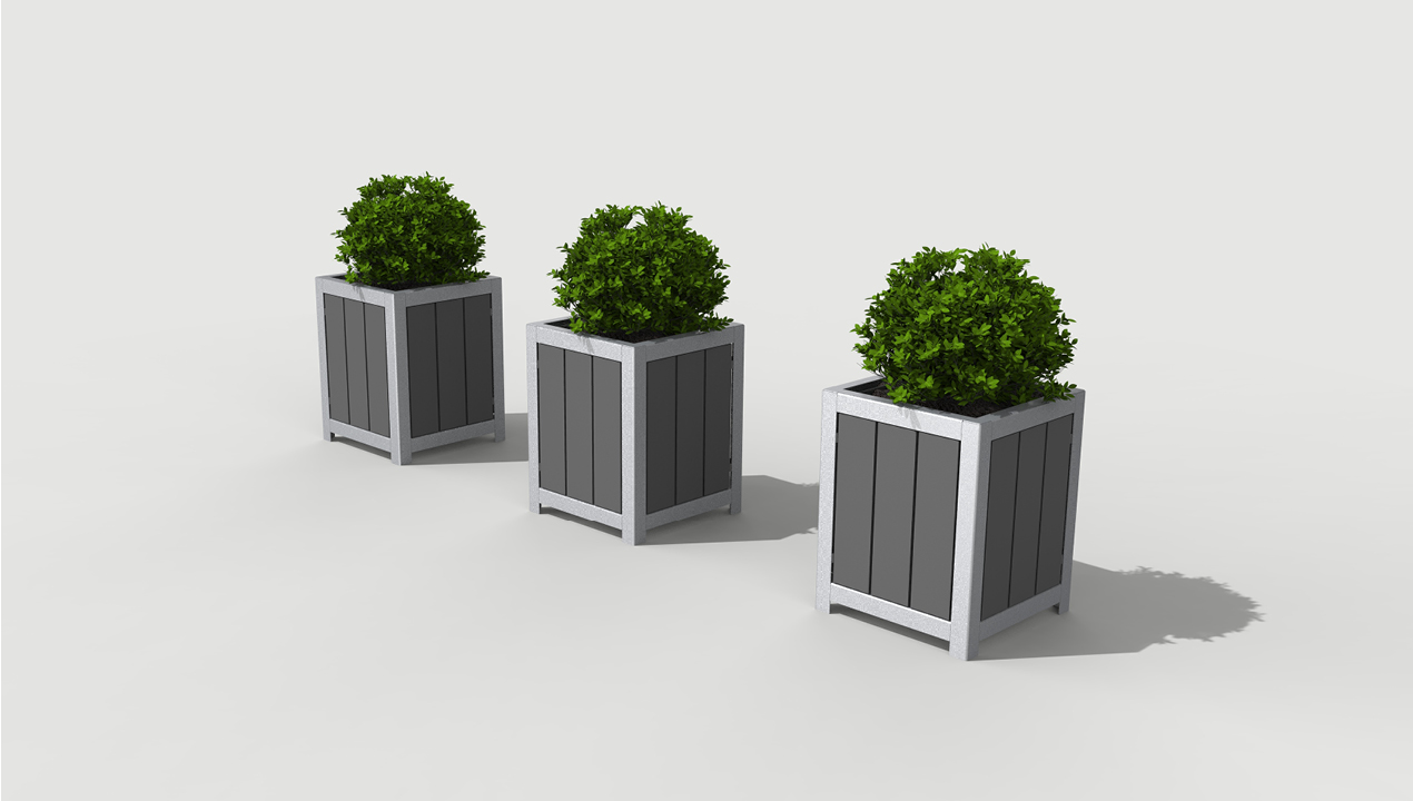 Three Grey Planters with Plants