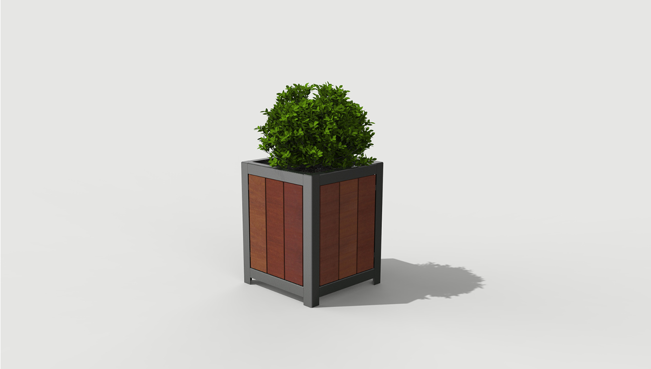 Small Grey and Wood Planter