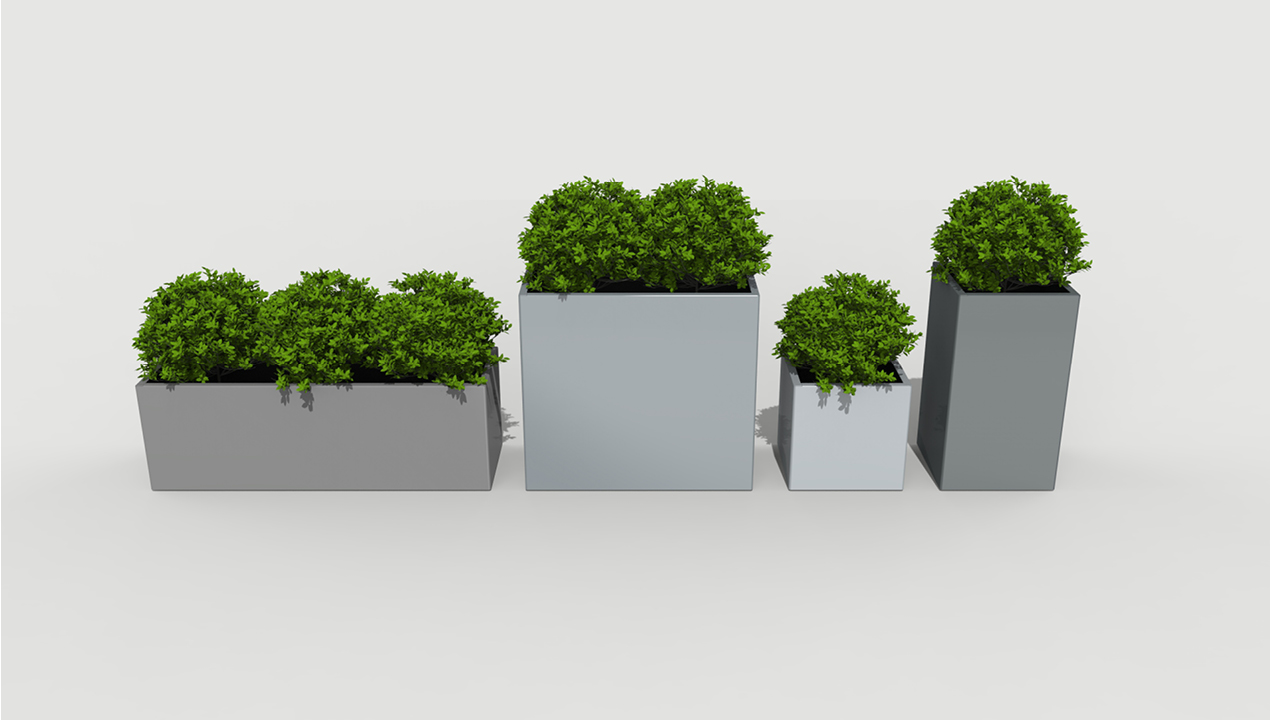 Multi-sized Grey Planters with Plants