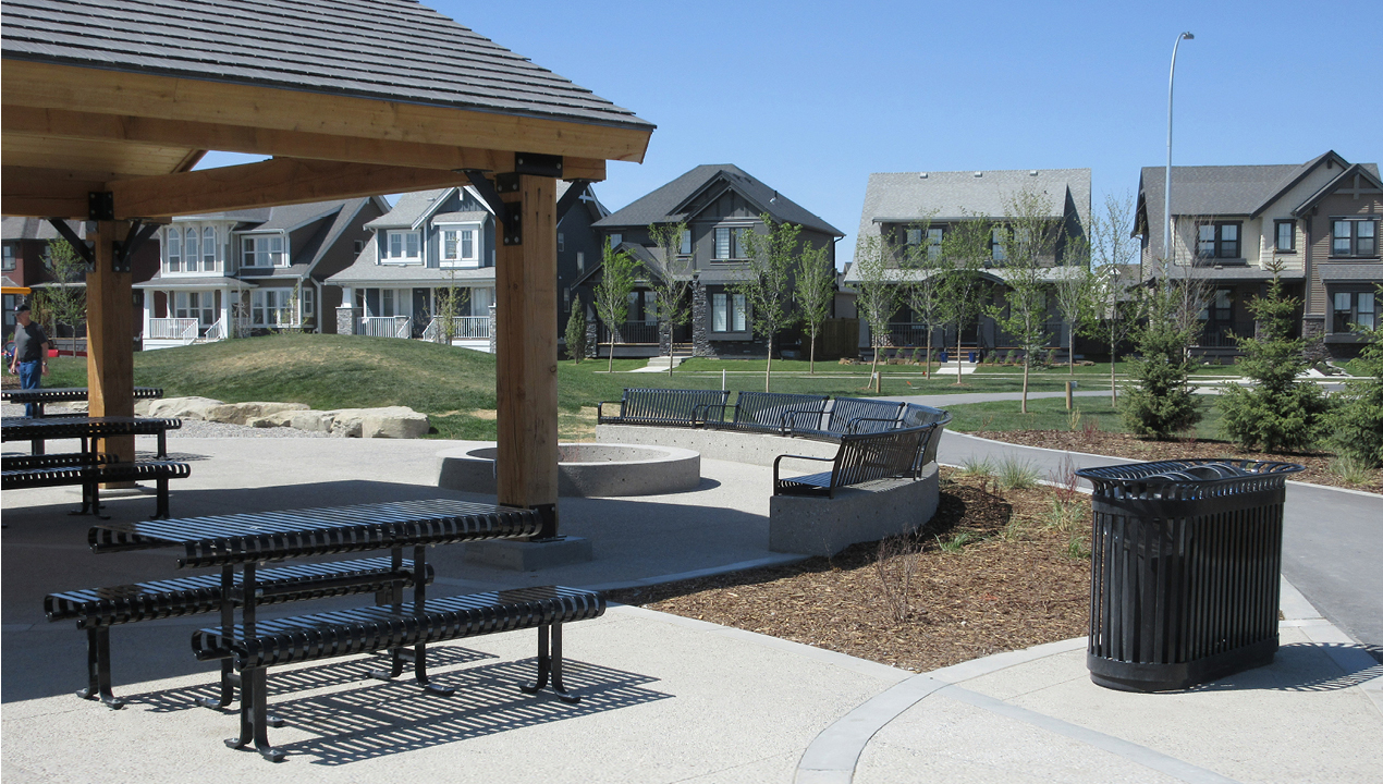 Picnic tables, Benches and Trash Can outside Subdivision