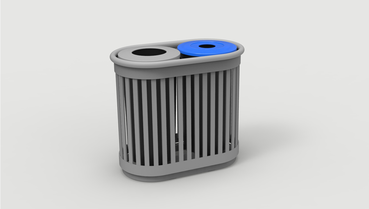 Trash and Recycling Bin with Vertical Slats
