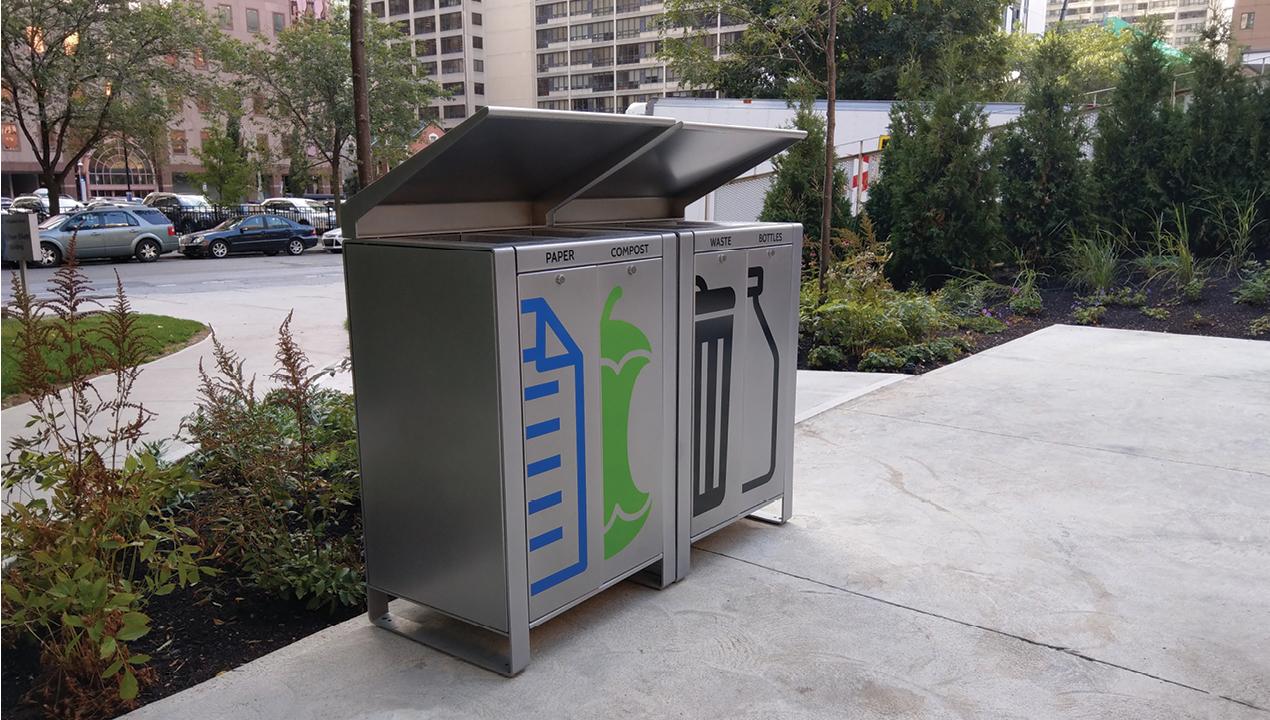 Paper, Compost, Waste and Bottle Trash Unit
