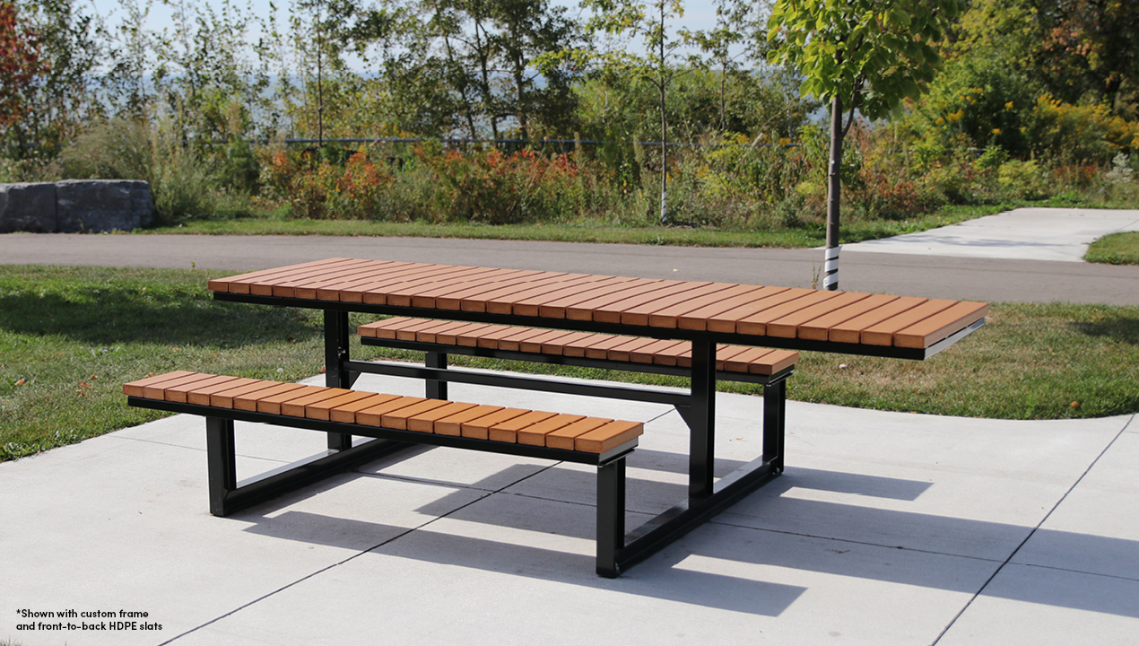 Long Table with Bench attached Seating Outside