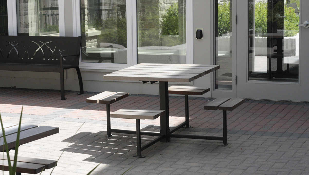 White Table with Attached Backless Seats