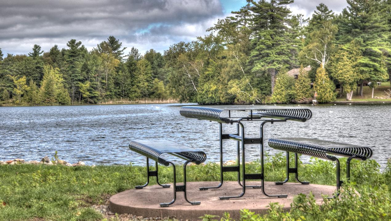 Metal Table Near Lake Area